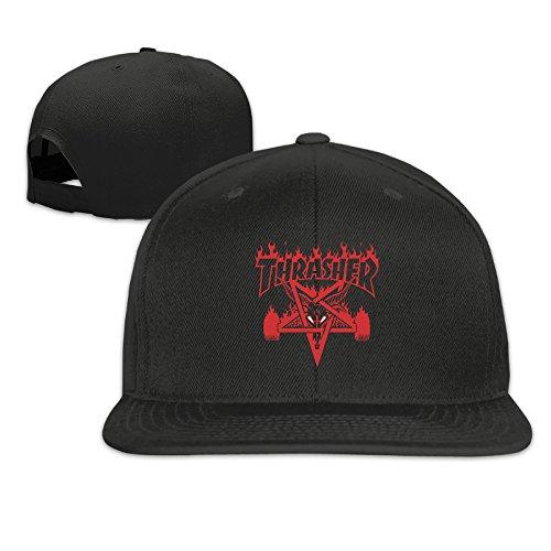 KI3SOP Unisex Thrasher Magazine Flat Bill Plain Snapback Hats Caps Black