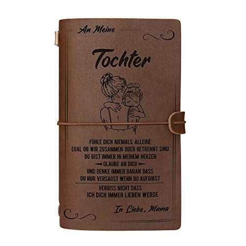 Graviertes Leder-Notizbuch für die Geschenke Meine Tochter - Handgefertigtes echtes Lederjournal für das Reisetagebuch Journal Sketch Book - Perfektes Jubiläums-Weihnachtsfest für Tochter von Mama
