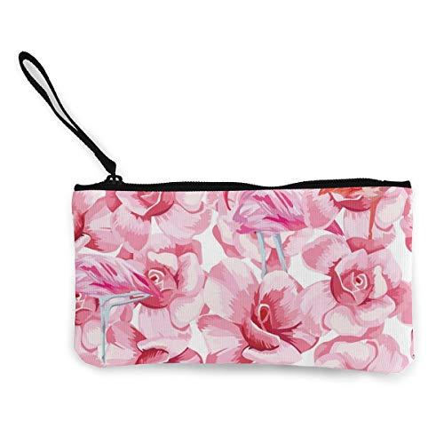 Monedero de lona con diseño de flamencos y rosas