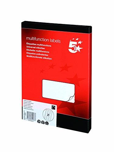5 Star Labels Laser Copier and Inkjet 70x42.4mm 21 per Sheet [2100 Labels],...