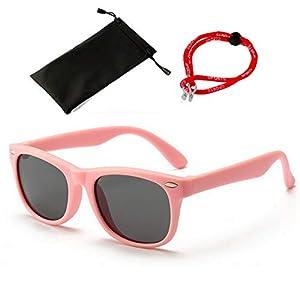 SMT サングラス キッズ こども用 キッズサングラス 男の子 女の子 ゴムフレーム 偏光レンズ UVカット 3点セット (ピンク)