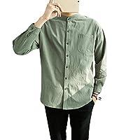 Habor シャツ メンズ 長袖 上着 綿 無地 春 夏 秋 冬 ファッション シャツ カジュアルシャ 2XL