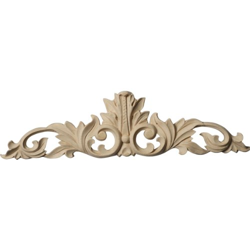 Ekena Millwork ONL12X03X01LFLW Small Green Leaf Center with Scrolls, 12 1/4-Inch x 3 1/4-Inch x 1/4-Inch, Lindenwood