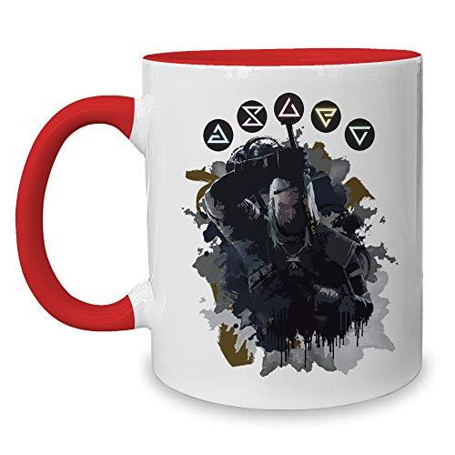 shirtdepartment - Kaffeebecher - Tasse - Gaming & Film Motive - Kollektion Hexer - Geralt Weiss-rot