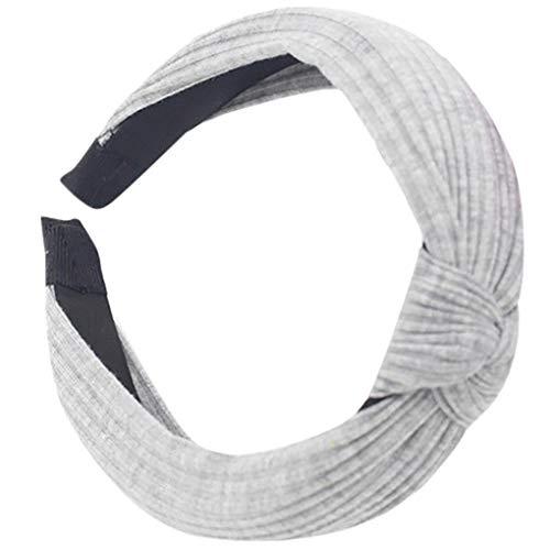 Dorical Haarband Yoga Headband Hairband Damen Stoff Haarreif mit Schleife-Vintage-Wunderschön Stirnband,Haarschmuck Haarreif mit Schleife-Vintage-Wunderschön Stirnband (Grau)