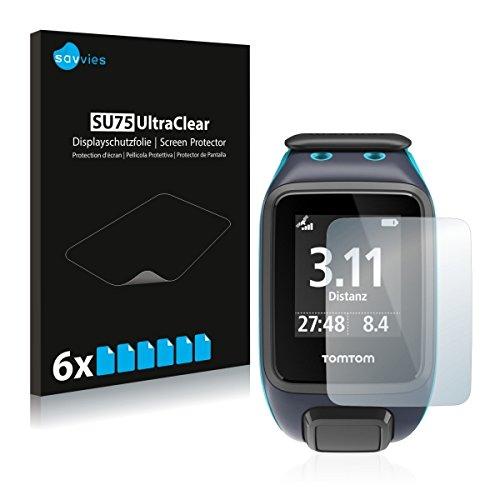 6x Savvies SU75 UltraClear Bildschirmschutz Schutzfolie für TomTom Runner 2 (ultraklar, mühelosanzubringen)