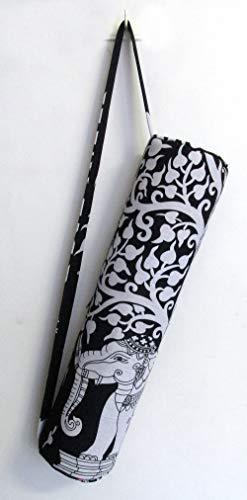 Sac de transport avec bandoulière pour tapis de yoga et de yoga Motif éléphant noir et blanc