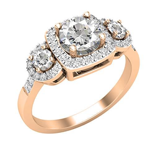 Dazzlingrock Collection Anillo de compromiso de estilo halo de 3 piedras preciosas y diamantes blancos naturales, disponible en varias piedras preciosas en oro de 10 K/14 K/18 K y plata de ley 925