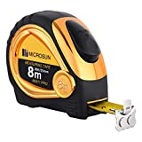 Chromed-case 8M/25ft Measuring Tape, Automatic-lock Steel Tape Measure, Heavy Duty Measuring Tape, All-use Steel Tape(Gold)