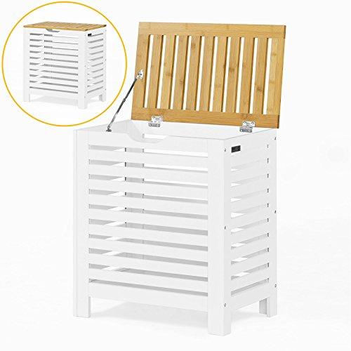 SoBuy® Wäschetruhe,Wäschekorb, Wäschebox, Wäschesammler Wäschetonne,mit Deckel, Weiß+Natur, FSS48-WN