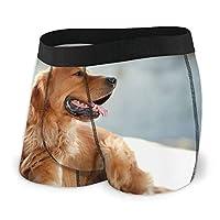 ゴールデンレトリバー犬 メンズ ボクサーパンツ 柔らかい 快適 通気性 ボクサーブリーフ 肌着 メンズ下着 ストレッチ