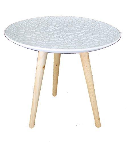 GMMH Design Retro bijzettafeltje, 40 cm, hout, wit, koffietafel, salontafel, nachtkastje Design13-9 plaat wit