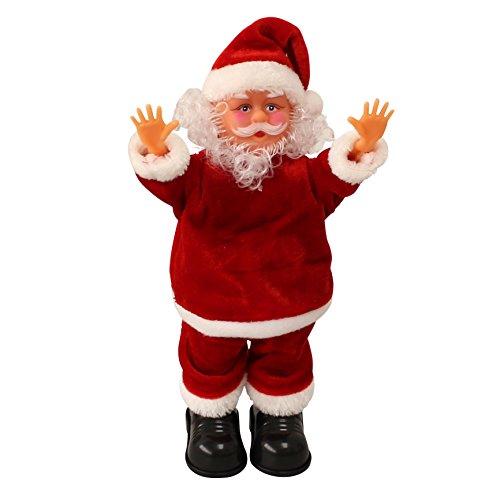 lux.pro Weihnachtsmann singend & tanzend mit Handstand 31cm - Weihnachts-Deko Nikolaus-Figur mit Musik & Bewegung Weihnachten Santa Claus - Singende/Tanzende Weihnachtsmänner