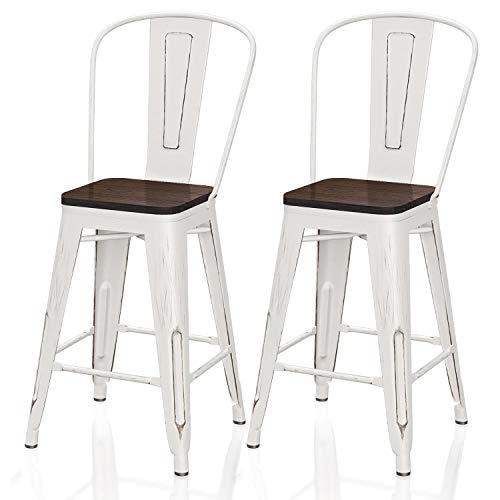 VIPEK 24' Counter Height Bar Chair Commercial Grade Patio Chairs Metal 24 Inches Seat Height Barstool with High Back Elm Wood Top Dining Stools for Bistro Pub Cafe Kitchen Set of 2, Distressed White
