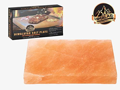 HIMALAID Himalayan Salt Block, 12' x 8' x 1.5'' Large - for Cooking & Serving. Naturally Flavors Food, Provides 80 Plus Trace Minerals: Calcium, Potassium, Magnesium. Balances pH to Reduce Acid