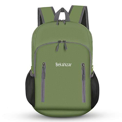 Bekahizar Sac à dos pliable ultra léger de 20 l - Pour la randonnée, le voyage, le jogging, le cyclisme, l'escalade (vert militaire)