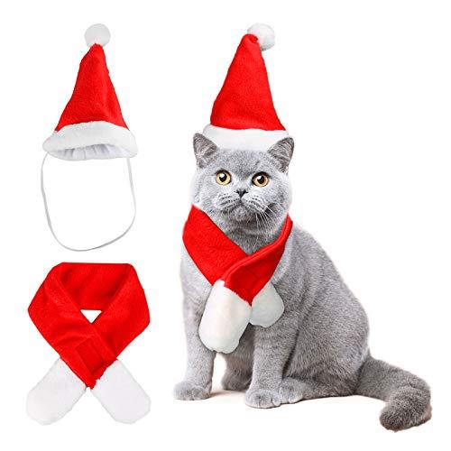 Katze Weihnachten Kostüm, Haustier Katze Weihnachten Santa Claus Mantel Kostüm mit Hut, Katzenkostüm Cape Warme Weihnachtskleidung,Party Holiday Dress Up Pet Bekleidung für Katzen Kleine Hunde (M)