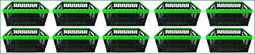 Novaliv Klappboxen faltbar stabil | 10x 30L Grün Schwarz Baskets Einkaufskiste| Klappkisten Set Tragebox Aufbewahrung Einkaufskörbe Körbe Aufbewahrung Küche