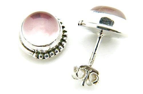 Pendientes de plata 925 con cuarzo rosa 10 mm10 mm (No: MOS 18)