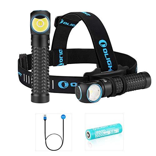 Olight Perun Stirnlampe 2000 Lumen Kaltes Weiß LED USB Magnetische Wiederaufladbare Taschenlampe EDC Tragbare Taschenlampen, mit 18650 Akku & Batteriefach & Kopfband