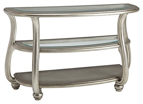 Signature Design by Ashley - Coralayne Glass Top Sofa Table, Silver