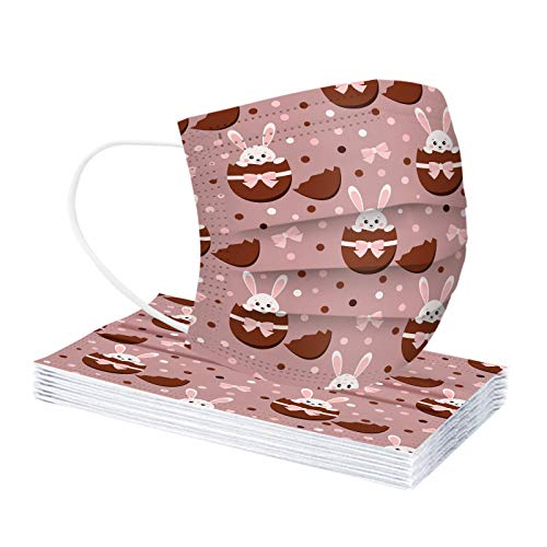 YAUzeun Erwachsene Mundschutz Multifunktionstuch,Einweg 3-lagig Ostern Hase eier Muster Bunt Masken,10-100 Stück Weiche Staubdicht Atmungsaktive Vlies Mund-Nasenschutz Bandana Halstuch