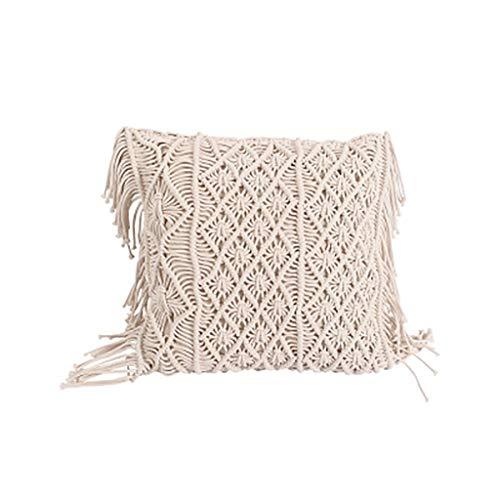 MIAO Kissenbezüge, Zöpfchen Tassel Hand Gesponnene Weiches Baumwollseil Empfindliche Kunstfertigkeit Sauber Farbe Nicht Leicht Verformt Nicht Leicht Zu Trennen 45x45cm (Color : 2)