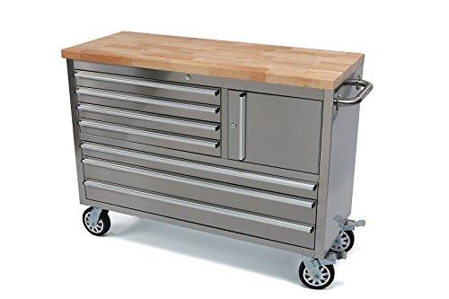 Werkstattwagen Werkzeugwagen Edelstahl 7 Schubladen 1 Fach, Holzplatte Nr. 3293