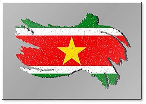 Grunge Flagge Suriname mit Shadow Illustration Kühlschrankmagnet