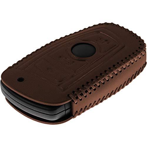 PhoneNatic Echtleder Stitched Schlüssel Hülle kompatibel mit der BMW 3er E90, 5er F10 und 7er F01 4-Tasten Fernbedienung in braun Funkschlüssel 4-Key