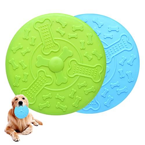 2 Piezas Frisbee Perro,Frisbee para MascotasØ 18.5 cm,Juguete de Disco Volador para Perro para Diversión Interactiva al Aire Libre,Adiestramiento de Perros Juguetes(Azul,Verde)