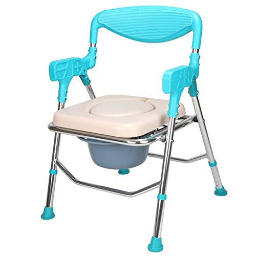 sillas de ducha y wc en aluminio azul con inodoro