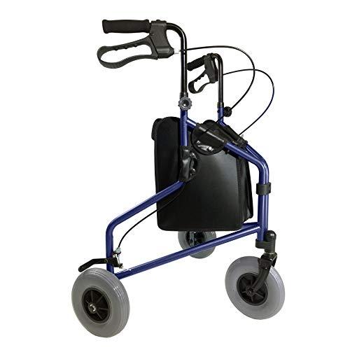 Tuffcare 3 Wheel Walker for Seniors, Foldable, Rollator Walker with Three Wheels, Height Adjustable Handles (Midnight Blue)