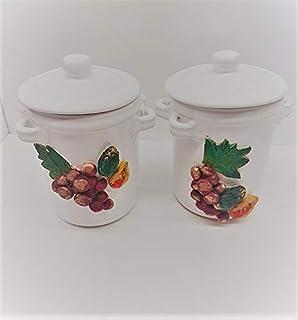 Set da 2 Barattoli porta Sale Zucchero Caffè in Ceramica smaltata Bianca Decorata con Frutta a rilievo - Ceramica Sicilian...