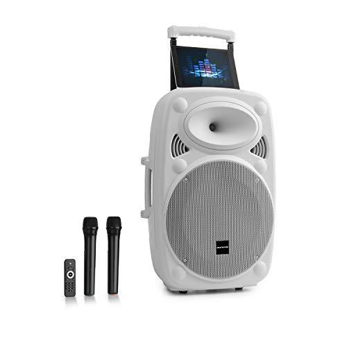 "auna Streetstar 2.0 - Equipo PA portátil, Altavoz DJ, Bluetooth, Puerto USB, SD, MP3, AUX, Batería 3 Ah, LED, 2 micrófonos UHF, Mando a Distancia, Subwoofer 15"" (38 cm), Potencia 1000 W, Blanco"