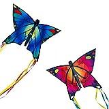 CIM Cometas - Butterfly Drachen [2er Set] - Pink und Blau - por niños con Edad a Partir de 3 años - 58x40cm - Cordón y Cola de la Cometa incluidos