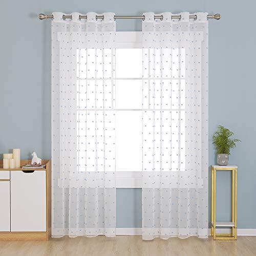 Deconovo Visillos Blancos Cortina Translucida Salón Infantiles para Ventanas Dormitorio para Habitacion...