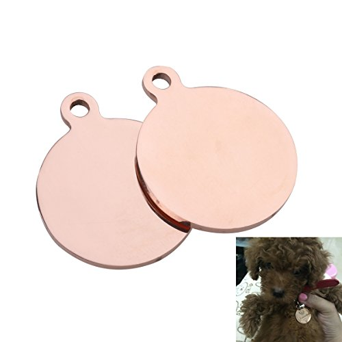 UEETEK 2PCS Pet ID Tags,25mm Blank DIY Dog Tags Cat Tags for Dog Cat Puppy Kitty Identification (Rose Gold)