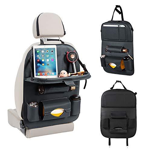 Organizador de asiento trasero universal de piel sintética para coche, organizador de asiento trasero de coche, organizador de asiento y protector de asiento, para niños y asiento