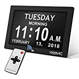 YISSVIC Digital Alarm Clock 8 Inch Large Display Calendar Day Clock with Remote & Battery Backup & 12 Alarm Options Ideal for Impaired Vision and Seniors (Electronics)