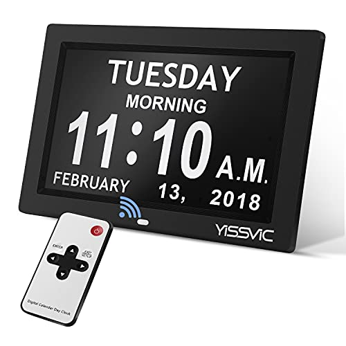 YISSVIC Digital Alarm Clock 8 Inch Large Display Calendar Day Clock with Remote & Battery Backup & 12 Alarms Ideal for Impaired Vision and Seniors