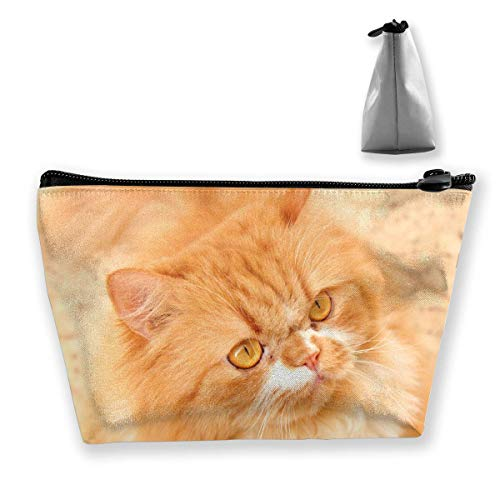 Beautiful Brown Persian Cat Makeup Bag Large Trapezoidal Storage Travel Bag Wash Cosmetic Pouch Pencil Holder Zipper Waterproof
