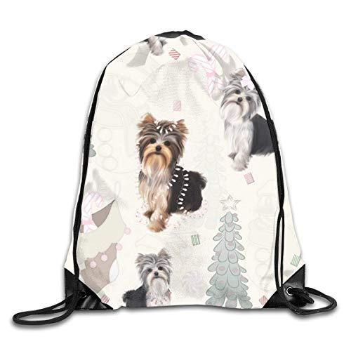 Drawstring Bag Rucksack Drawstring Backpack Yorkie Christmas Pastel for Picnic Gym Sport Beach Yoga Drawstring Sackpack Bag 36X43CM