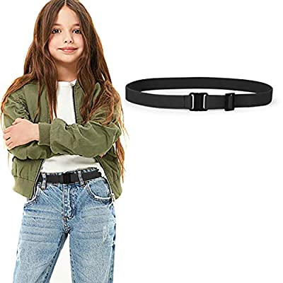 JASGOOD Kids Nickel Free Adjustable Elastic Belts for Pants Children Stretch Belts for Boys and Girls(Suit for waist size below 26Inch,05-Black)