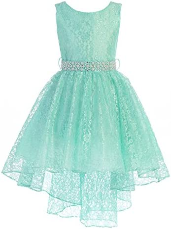 High Low Lace Dress with Rhinestones Belt Pageant Flower Girl Dress Mint Size 10 product image