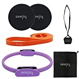Seejiq Pilates Ring Yoga Magic Circle for Arm and Thigh Exercise, Dual Sided Core Sliders, Heavy Duty Pull Up Resistance Band, Door Anchor for Gym and Home Workouts Ab Workout Fitness Training from Seejiq