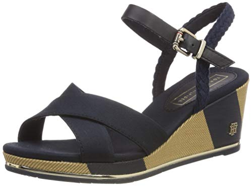 Tommy Hilfiger Damen PRINTED MID WEDGE SANDAL Plateausandalen, Blau (Midnight 403), 41 EU