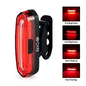 Luz Trasera para Bicicleta Recargable USB, Super Brillante Rojo Luz LED Bici de 120 Lúmenes, Impermeable, 240 ° Faro Trasero Bici para Máxima Seguridad de Ciclismo