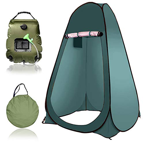 EnweGey Pop-up Shower Tent, Portable Privacy Tent with Solar Shower Bag, 5 Gallons/20L Hot Water 45°C, Rain Shelter for Camping Beach Swimming Outdoor Traveling Hiking,7.Dark Green