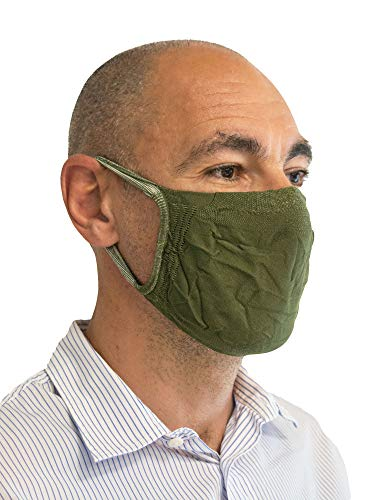 Relaxsan - Set 3 [Verde milit.] Fasce filtranti Viso Bocca Naso Lavabili riutilizzabili assorbenti Tessuto batteriostatico